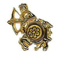 Damascene Gold Sagittarius the Archer Zodiac Tie Tack / Pin by Midas of Toledo Spain style 5321