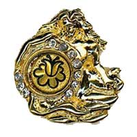 Damascene Gold Aquarius the Water Bearer Zodiac Tie Tack / Pin by Midas of Toledo Spain style 5323