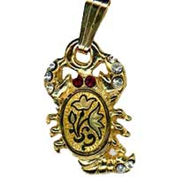 Damascene Gold Scorpio the Scorpion Zodiac Pendant on Chain Necklace by Midas of Toledo Spain style 5413